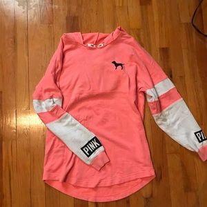 PINK hooded long sleeve shirt
